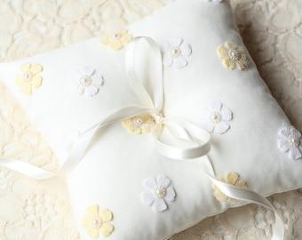 Ring Bearer Pillow, Cushion, Linen Pillow, Flower Pillow, Wedding Pillow, Ring Pillow