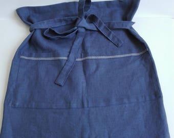 Blue apron, Linen Half Apron with Front Pockets, Linen Cafe Apron, Vintage Style Apron, Shabby Chic Apron, Blue Cuisine Apron