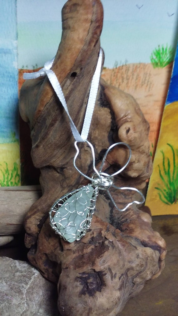 Sea glass angel - Silver Guardian Angel Ornament - Angelic Gift - White Sea Glass - South Shore Beach Glass by Goofy Moose