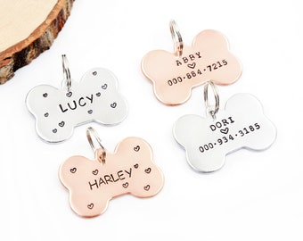 Hand Stamped Dog Tag, Dog id tag, Personalized Dog id tag, Dog Bone tag, Poppy id tag, Cat id tag, Dog Tag, for my pet, Custom dog id tag