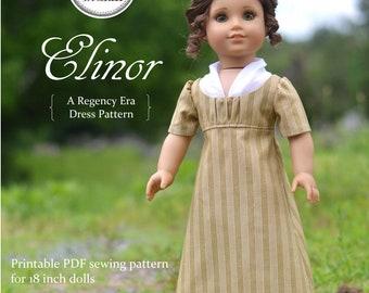 PDF Pattern Elinor Regency Dress for 18 inch dolls