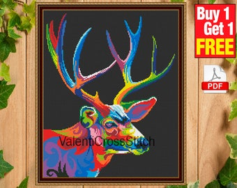 Rainbow DEER Cross Stritch Pattern, instant download, pdf, counted cross stitch, embroidery chart, #sp 193