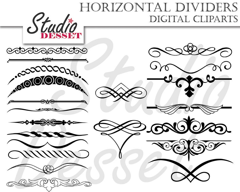Free Clipart For Wedding Invitations: Black Dividers Wedding Invitations Calligraphy Clipart Set