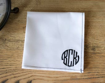 monogrammed pocket square,personalized pocket square,custom monogrammed pocket square embroidered,husband Christmas gifts