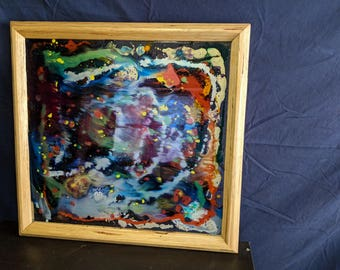 double sided abstract painting on glass