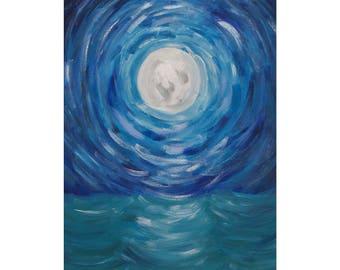 Moon over Ocean Print