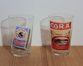 Early 1930's hand painted advertising glasses