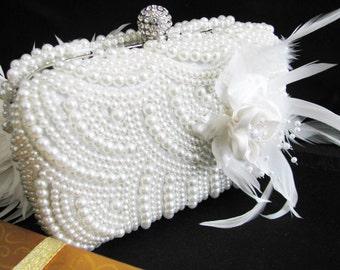 wedding, accessories, clutch, purse, evening bag, Formal Evening Bag, Fabric, crystal, silver satin, fabric, imitation pearl, faux pearl