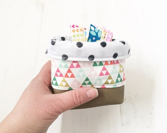 Geometric Shape Mini Bucket, On Trend, Fabric Basket