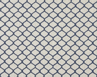Blue And Off White Modern Geometric Designer Quality Upholstery Fabric By The Yard | Pattern # A0005E