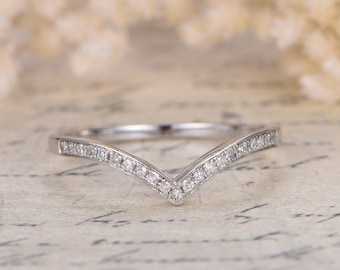 Valentine's Day Gift 14K White Gold V Wedding Band Chevron Wedding Band,V Wedding Band,Curved Wedding Ring Micro Pave Diamond Ring V Ring