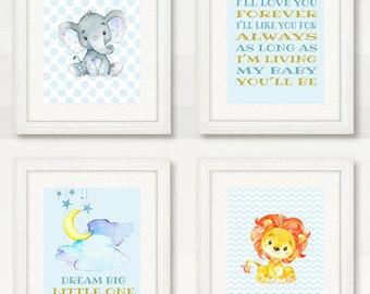 BEAUTIFUL Elephant & Lion Nursery Wall Art, Boy Nursery Cute Animals Wall Decor, Instant Download, Watercolor Safari Wild Animals