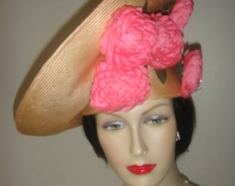 Fabulous Original Red Feather 1960's Jack McConnell Original Pink Platter And Rhinestone Hat
