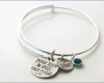 Custom Remembrance Bracelet | Sterling Silver Charm Bracelet, Your Love is Still Our Guide, Silver Bangle Bracelet