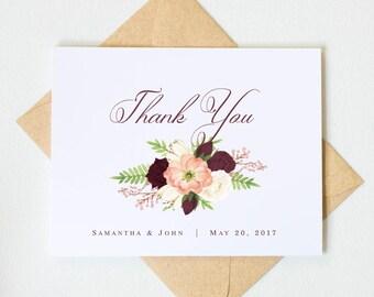 Rustic Wedding Thank You Cards   Marsala Wedding Thank You Cards   Personalized Wedding Stationary   Marsala Wedding Note Cards  #LGW2172