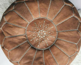 Moroccan pouf, floor pillow pouf in leather, seat of coffee table, seat of a table