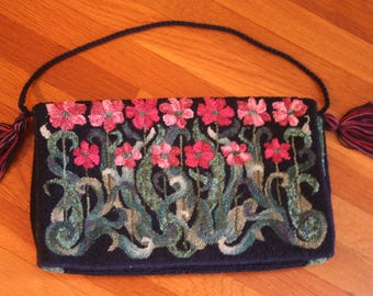 Hand Hooked Purse/Tote Bag