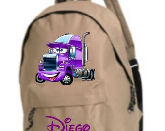 bag has beige back truck personalized with name