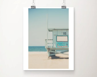 beach photograph california photograph santa monica photograph mint lifeguard tower photograph beach house decor coastal print