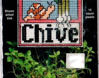 Chive Herb Marker, Plant Poke, Cross Stitch Kit, Chive & Snail, Plastic Canvas Cross Stitch Kit, Needle Magic Inc, Garden Plant Marker
