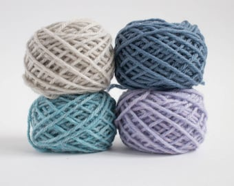 mini yarn skein set in ocean colours - worsted weight, pure wool, 48 grams, 88 yards