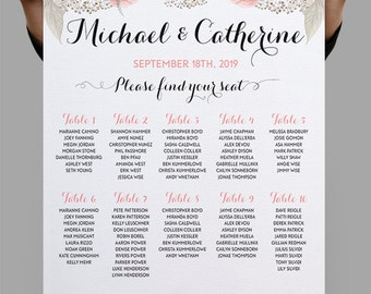 Personalized Wedding Seating Chart Table Seating plan printable Table plan, Rose quartz roses peonies Boho Wedding Decor DIY digital files