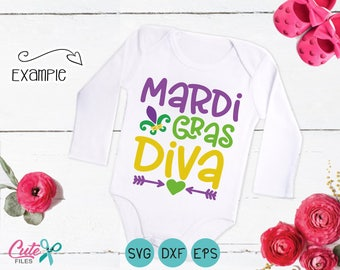 Mardi Gras Diva, Mardi Gras Svg, Little Miss mardi glas svg, Masquerade, Carnival, Dxf, Clipart, cut File Vinyl Cutters
