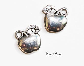 10 x silver Apple charms