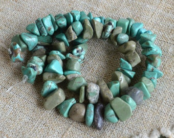 Magnesite Blue Green Chips Natural Gemstone Beads 15 Inches