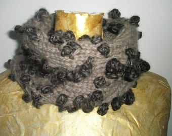 Brown handmade knitted scarf