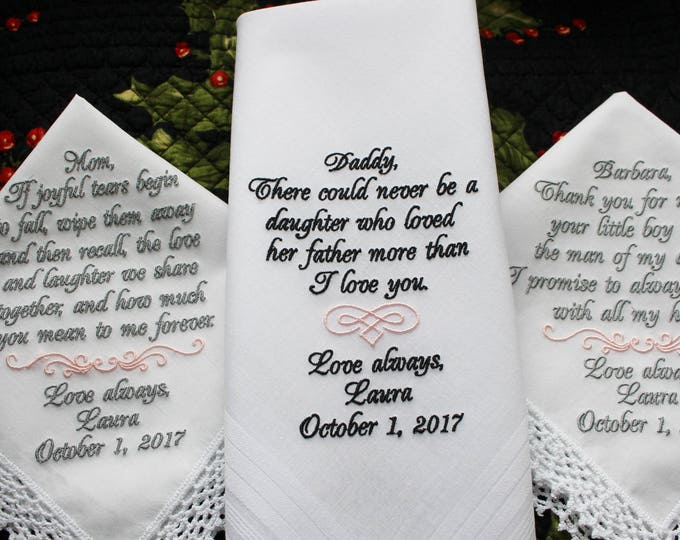 Set of 3 Personalized Custom Embroidered Wedding Handkerchief Gifts, Mother of bride Handkerchief, mother of groom, father of the bride