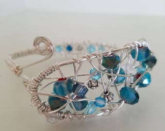 Silver and Teal Wire Wrapped Cuff Bracelet