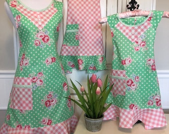 Mommy and Me Mint and Pink Floral Apron set of 3
