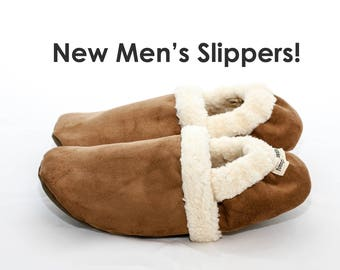 Men's slippers with soles | Men's slippers winter | Indoor slippers for men | Unisex slippers | Warm slippers | House shoes for men Chestnut