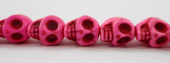 "Pink Skull Beads 12x10mm (12mm) Gemstone Skull Beads, Hot Pink Howlite Stone Skull Beads, Skeleton Beads on a 7 1/2"" Strand with 16 Beads"