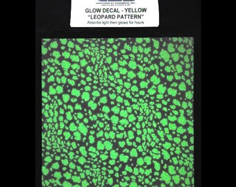Leopard Glow in the Dark Decal. Glass Decal Sheet. Ceramic Decals. Glass Decals. Glass Fusing, Glass Blowing, Lampworking, Ceramics Supply