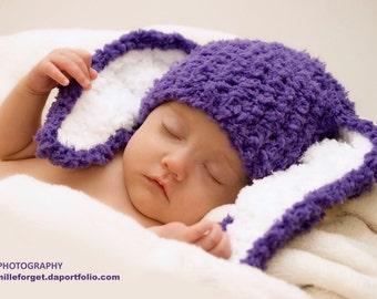 3 to 6m Purple Baby Hat Bunny Ears Purple Girl Baby Hat Purple Photo Prop Bunny Crochet Purple Baby Beanie Rabbit Hat, Baby Gift