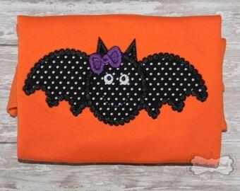 Orange & Black Bat with Bow Embroidered Shirt