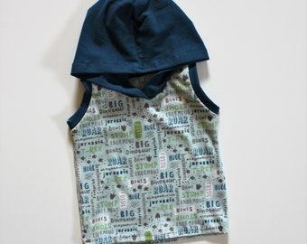 Dino Words Hooded Summer Tank, Boys Beach Tank, Fossil, Dino Bones, Discovery, in sizes 3m-4T