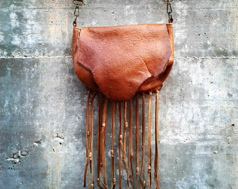 CASUAL FRINGED BAG-Distressed Leather Bag- Crossbody Leather Bag- Camel Messenger Bag-Boho hippie look