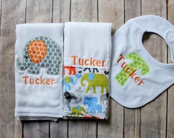 Personalized Monogrammed Baby Boy Elephant Burp Cloth Set, Elephant Baby Gift, Baby Boy Elephant Set, Baby Shower Gift, New Baby Boy Gift