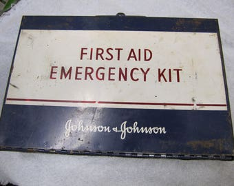 Vintage Johnson & Johnson Emergency First Aid Kit, Metal First Aid Tin