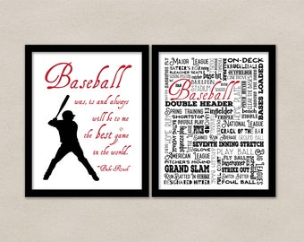 Baseball wall art print, Baseball bedroom decor, Sports bedroom, Baseball sign, Boys room, Baseball was is and always - Babe Ruth quote
