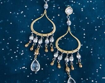 Silver Gold Chandelier Earrings Enchanted Post Earrings by MinouBazaar