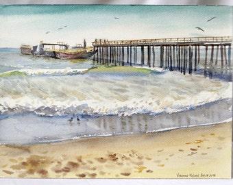 Santa Cruz Beach - Watercolor Painting