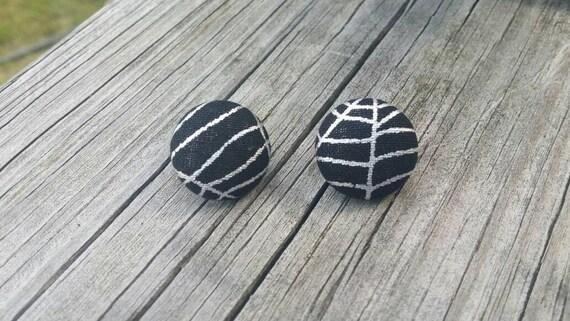 Button Earrings, Spider web earrings, Costume Jewelry, Fabric Earrings, Round Earrings, Fall Earrings, Halloween Earrings, Nickel Free