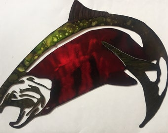 Jumping Salmon Metal Wall Art