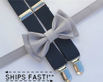 Navy Suspenders & Light Gray Bow Tie for Groom, Groomsmen, Ring Bearer