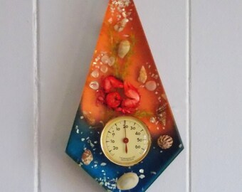 Vintage french Underwater Ocean Beach theme Crab and Sea Shell Lucite Wall thermometer