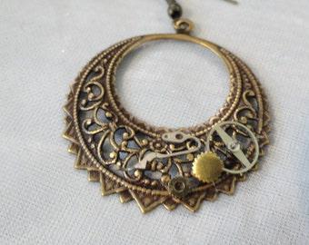 Steampunk  Earrings Filigree Hoop with Vintage Watch Parts